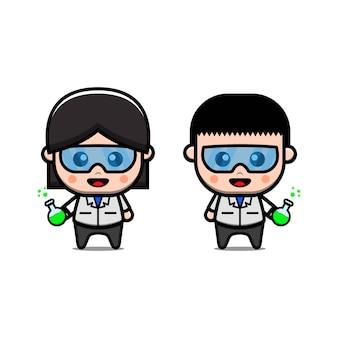 Ilustración de icono de vector de profesor científico lindo. aislado. experimento científico estilo de dibujos animados adecuado para pegatinas, páginas de destino web, pancartas, folletos, mascotas, carteles.