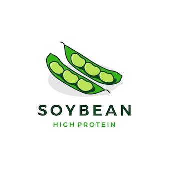 Ilustración de icono de vector de soja logo