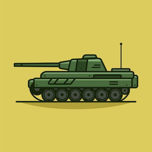 Ilustración de icono de vector de tanque militar vector de vehículo militar