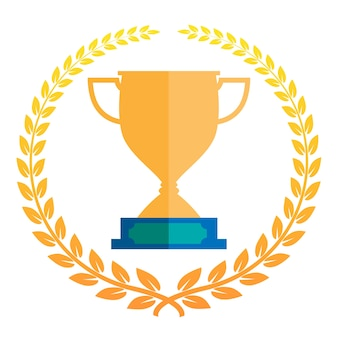 Ilustración de icono de vector de trofeo con corona de laurel.