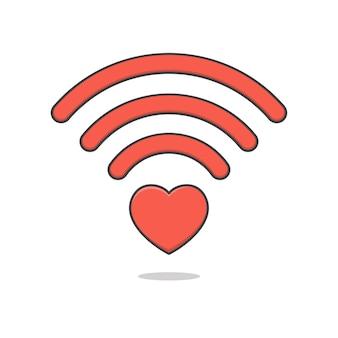 Ilustración de icono de wifi de corazón aislado
