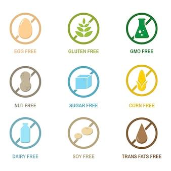 Ilustración de iconos de alergia a los alimentos aislado
