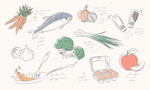 Ilustración de los iconos de alimentos aislados sobre fondo blanco