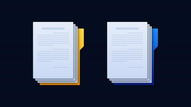 Ilustración de iconos de carpeta de documentos