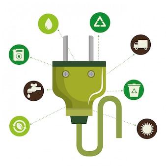 Ilustración de iconos de conjunto de medio ambiente y ecología