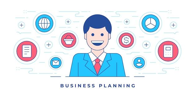 Ilustración de iconos de diseño de banner plano lin alrededor de empleado feliz para negocio de sitio web