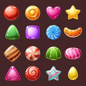 Ilustración de iconos de dulces caramelos coloridos.