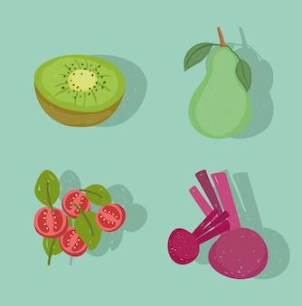 Ilustración de iconos frescos de frutas y verduras de alimentos saludables