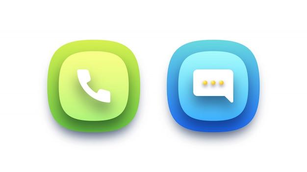Ilustración de iconos de llamadas y mensajes