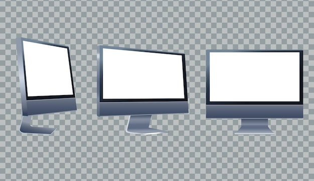 Ilustración de iconos de marca de tres dispositivos de escritorio