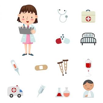 Ilustración de iconos médicos