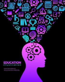 Ilustración de iconos planos de educación