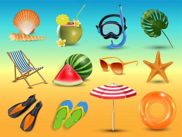 Ilustración de iconos de playa de vacaciones de verano realista conjunto aislado sobre fondo de playa