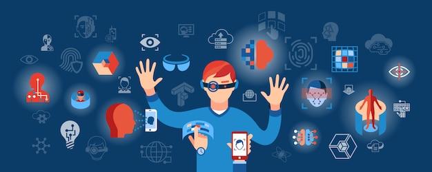 Ilustración de iconos de tecnología de ciencia de realidad virtual