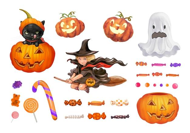 Ilustración de los iconos temáticos de halloween