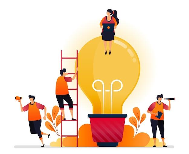 Ilustración de idea e inspiración, buscando resolución de problemas con conocimiento de lluvia de ideas