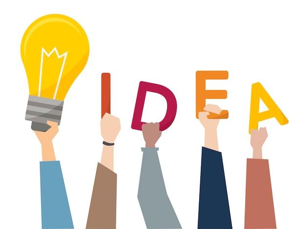 Ilustración de ideas creativas con bombilla de luz.