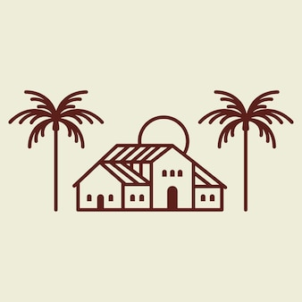 Ilustración de identidad corporativa empresarial de logotipo de villa