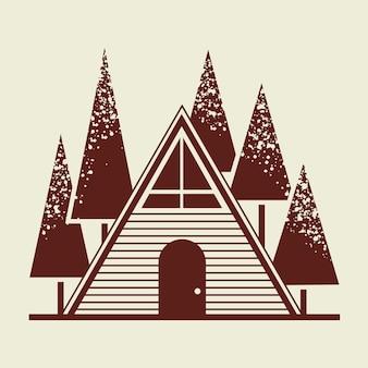 Ilustración de la identidad corporativa del negocio del logotipo de la cabaña de troncos