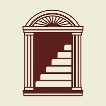 Ilustración de la identidad corporativa del negocio del logotipo de la escalera