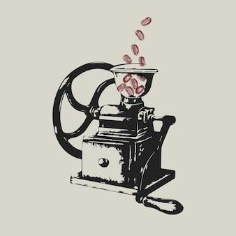 Ilustración de la identidad corporativa del negocio del logotipo del molinillo de café manual retro