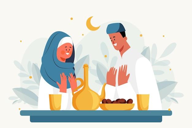 Ilustración de iftar plana