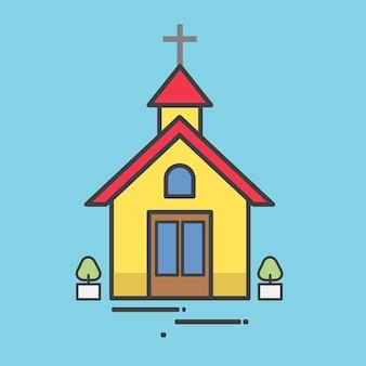 Ilustración de una iglesia amarilla