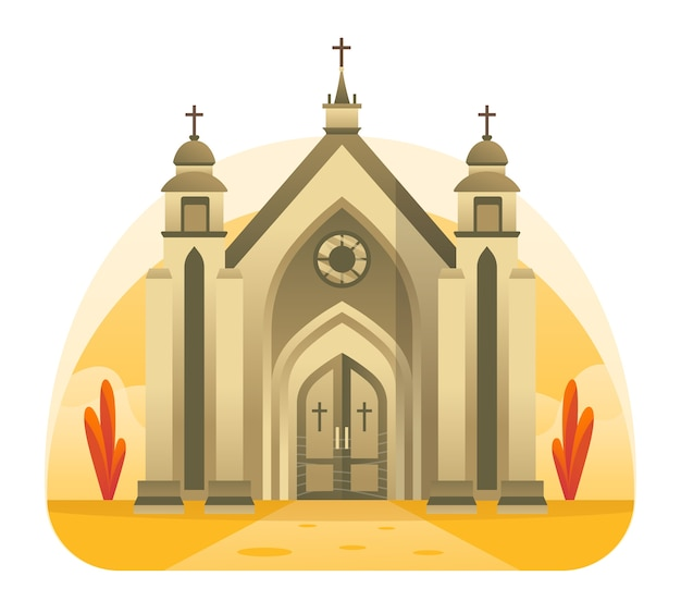 Ilustración de la iglesia, un lugar para la alabanza cristiana a jesucristo. esta ilustración se puede utilizar para sitios web, páginas de destino, web, aplicaciones y banners.