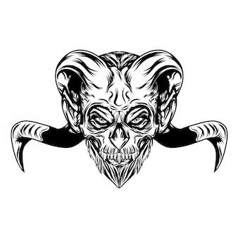 Ilustración ilustración de cabeza malvada con largos cuernos de cabra