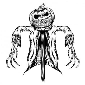 Ilustración ilustración de calabazas con chaqueta en paja