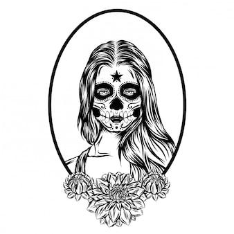 Ilustración ilustración de un día de muertos arte de la cara de la mujer con el pelo largo