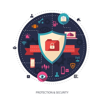 Ilustración de ilustración empresarial con composición de seguridad