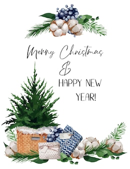 Ilustración, ilustración de navidad con ramas de abeto, bayas y algodones