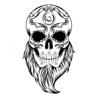 Ilustración de ilustraciones de un día de cráneo muerto con barba