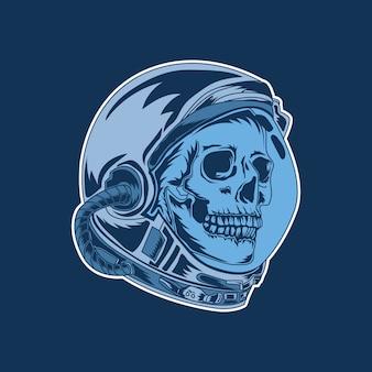 Ilustración de ilustraciones y diseño de camiseta astronauta cráneo premium