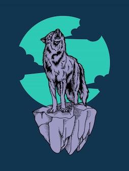 Ilustración de ilustraciones y diseño de camiseta premium de lobo