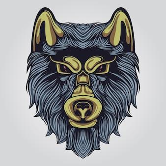 Ilustración de ilustraciones de lobo