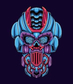 Ilustración de ilustraciones mecánicas de cabeza robot cráneo