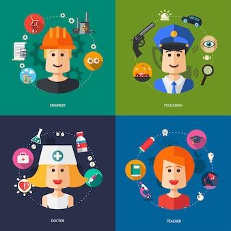 Ilustración de ilustraciones de negocios con profesiones de personas.