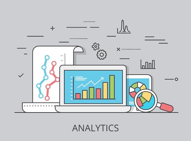 Ilustración de imagen de héroe de sitio web de análisis de visitantes plano lineal. seo, smm y concepto de marketing online. ordenador portátil, tableta con informe de datos en pantalla.