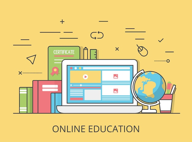 Ilustración de imagen de héroe de sitio web de educación en línea plana lineal. educación y conocimiento, tutorial remoto y concepto de curso. computadora portátil con interfaz de cursos de video en pantalla, certificado y libros