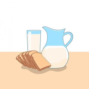 Ilustración de imágenes prediseñadas de leche y pan. concepto de imágenes prediseñadas de comida rápida aislado. vector de estilo de dibujos animados plana