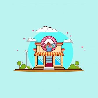 Ilustración de imágenes prediseñadas de tienda de helados. concepto de imágenes prediseñadas de comida rápida aislado. vector de estilo de dibujos animados plana