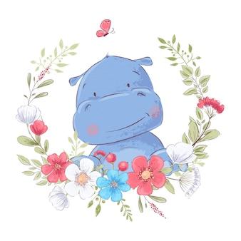 Ilustración de una impresión para la habitación de los niños ropa hipopótamo lindo en una guirnalda de flores rojas, blancas y azules.