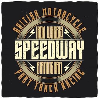 Ilustración impresionante de la etiqueta speedway