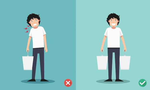 Ilustración inadecuada versus levantamiento adecuado, ilustración