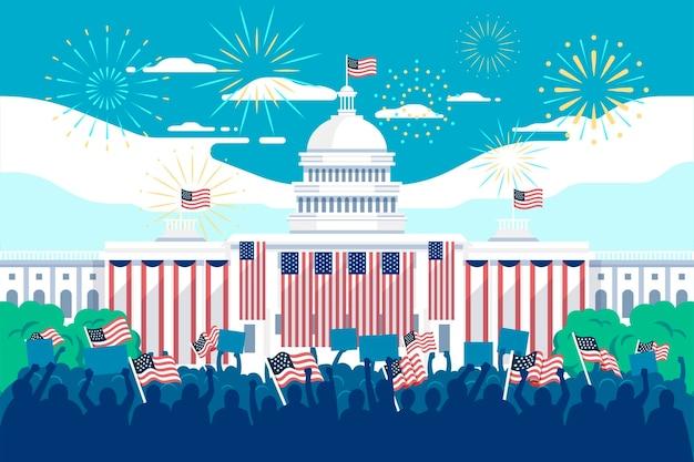 Ilustración de inauguración presidencial de estados unidos con casa blanca y fuegos artificiales