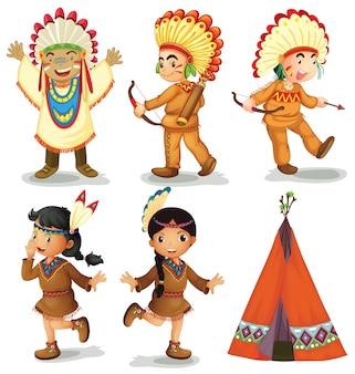 Ilustración de los indios americanos rojos