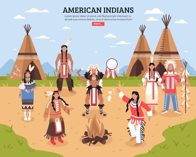 Ilustración de los indios americanos