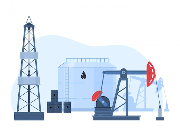 Ilustración de la industria de gas de petróleo, paisaje urbano de dibujos animados con plataforma de perforación en campo petrolífero, icono de tanques de almacenamiento en blanco